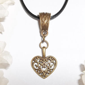 Bronze Heart Necklace Black Cord Layered Look 4512